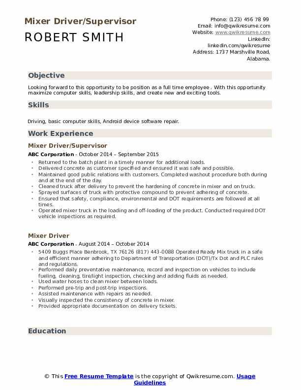 Mixer Driver/Supervisor Resume Sample