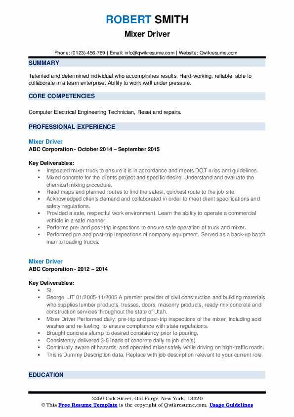 Mixer Driver Resume example