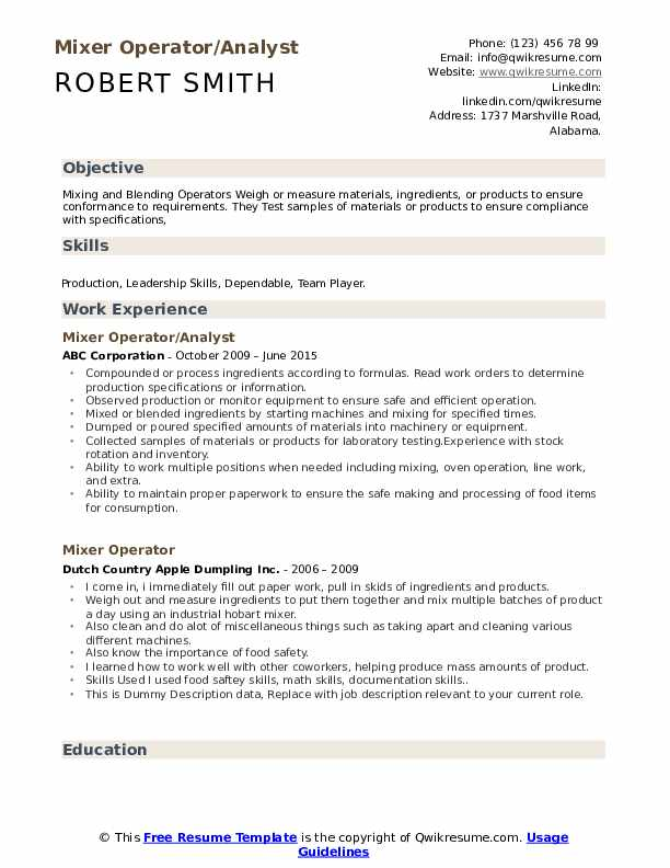 Mixer Operator/Analyst Resume Format