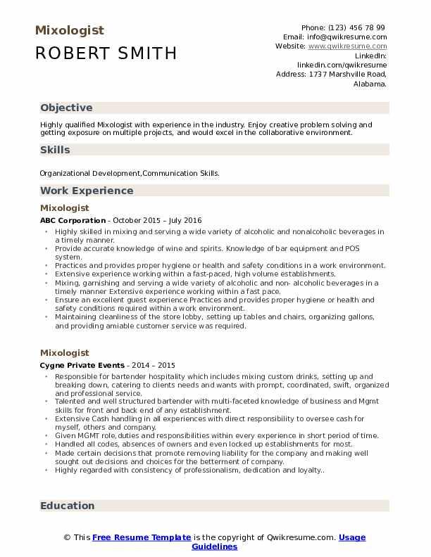 Mixologist Resume Model