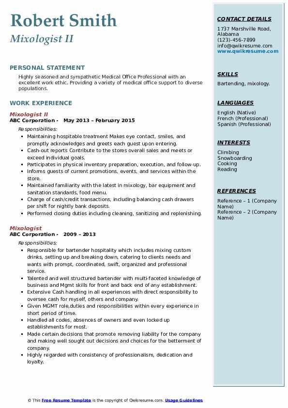Mixologist II Resume Format