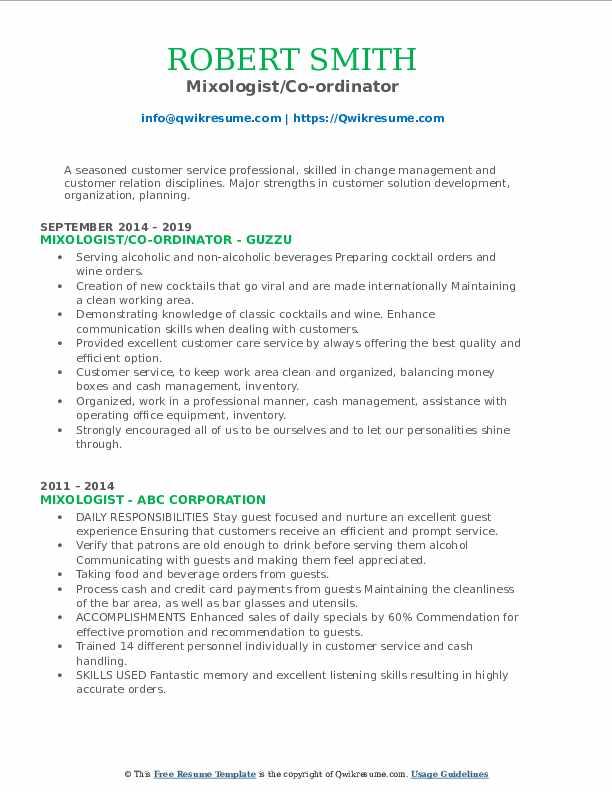 Mixologist/Co-ordinator Resume Template