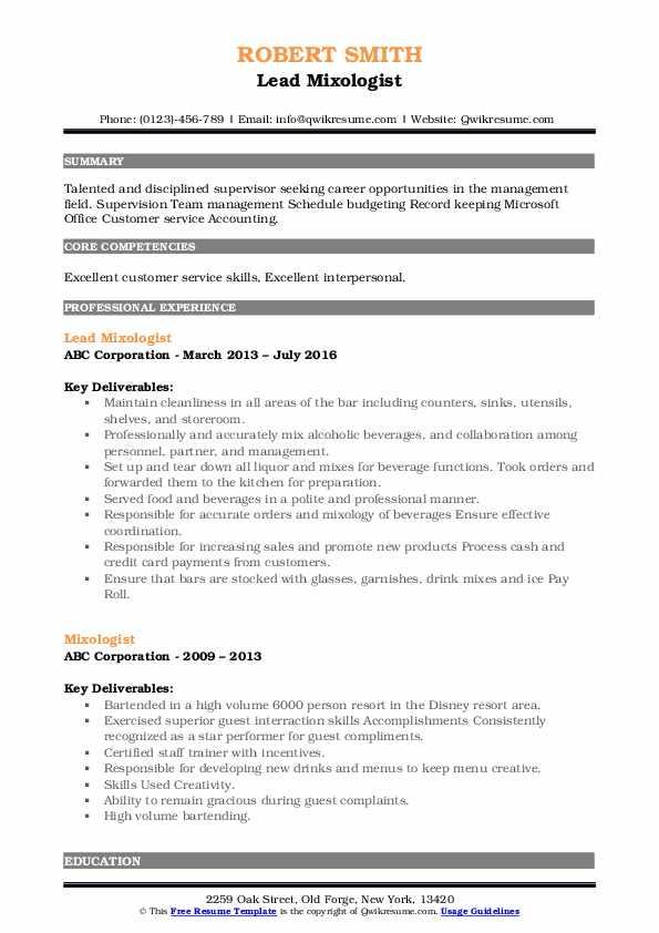Lead Mixologist Resume Format