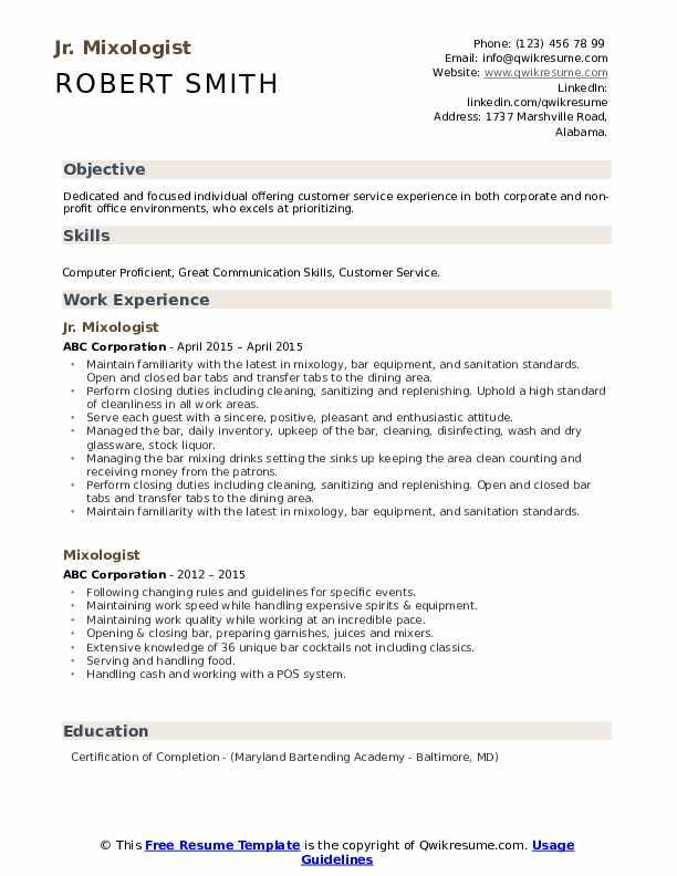 Jr. Mixologist Resume Model