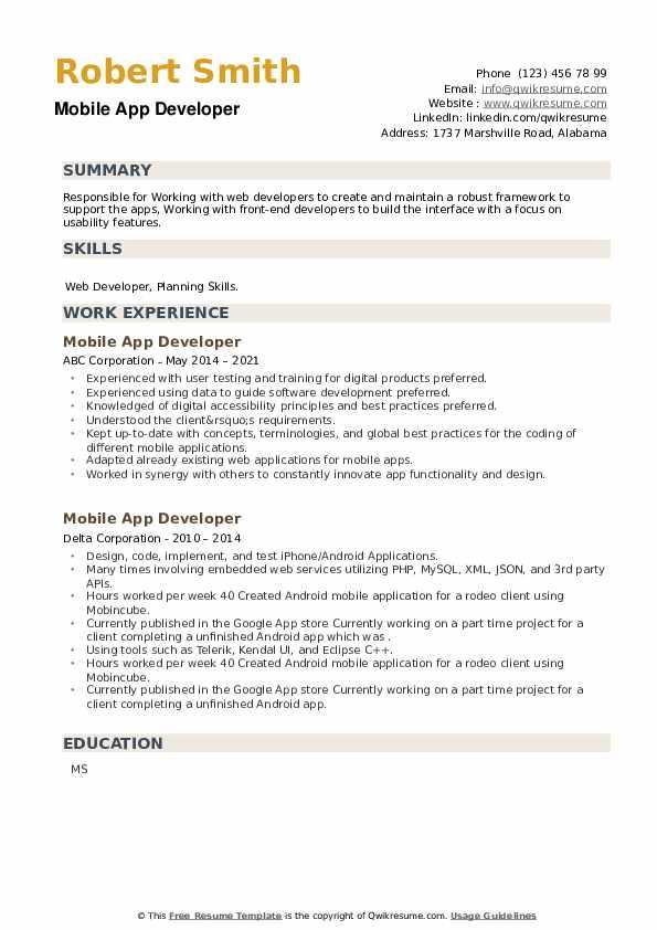 Mobile App Developer Resume example