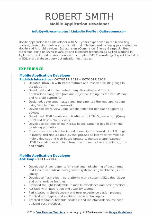 Mobile Application Developer Resume Template