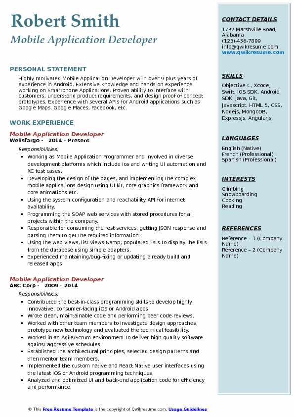 Mobile Application Developer Resume Model
