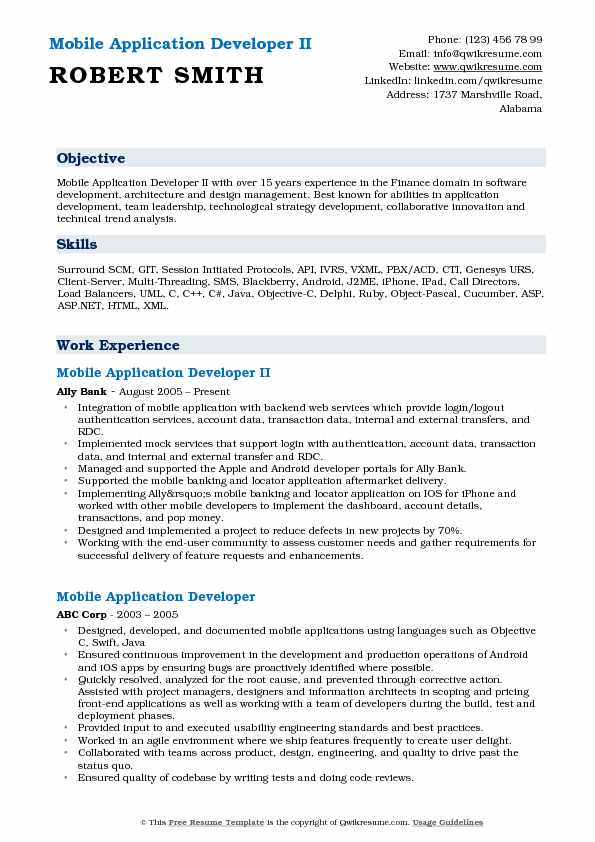 Mobile Application Developer II Resume Example