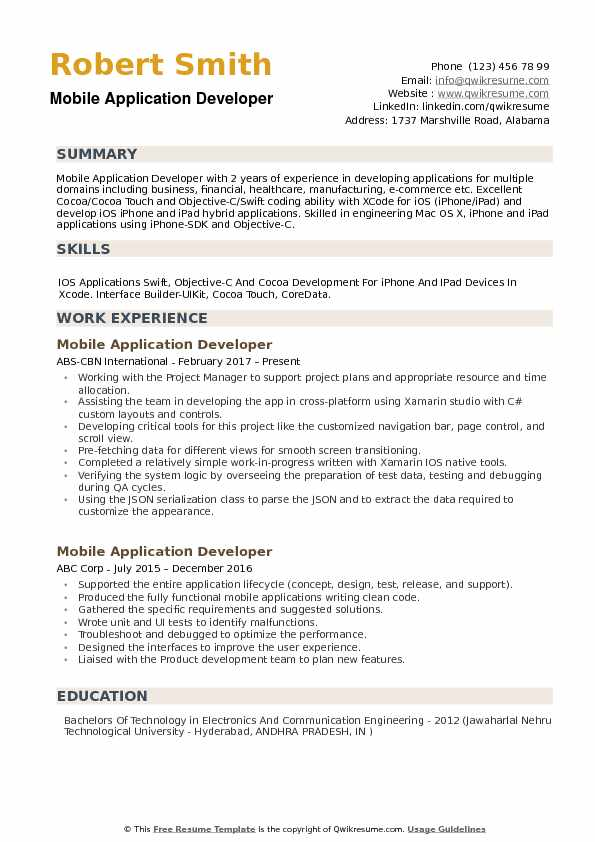 Mobile Application Developer Resume example