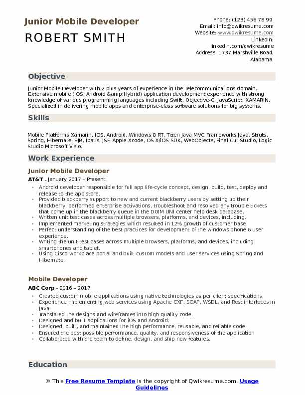 Junior Mobile Developer Resume Format