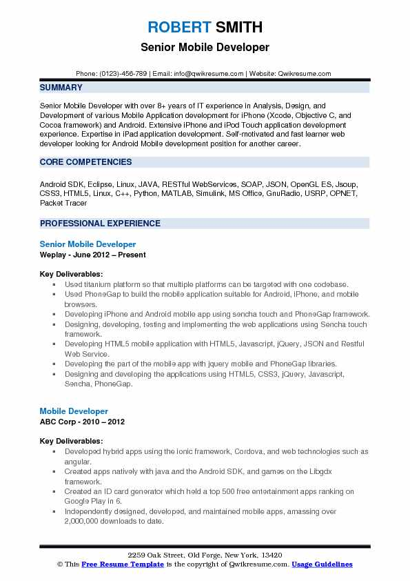 Senior Mobile Developer Resume Example