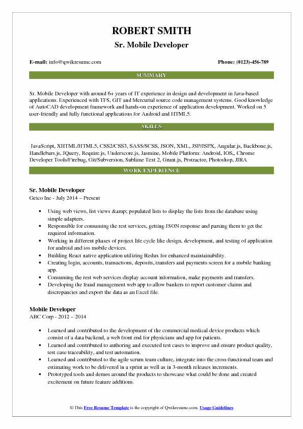 Sr. Mobile Developer Resume Sample