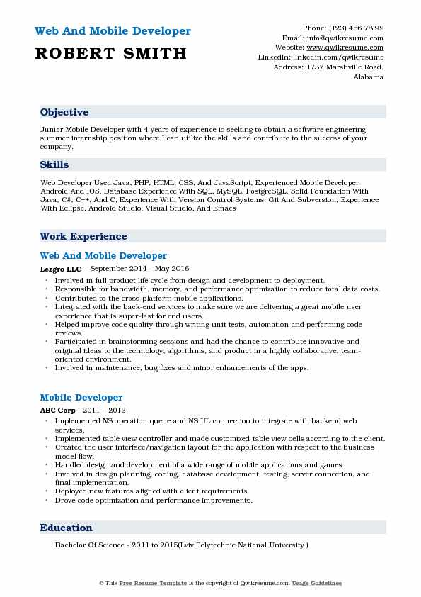 Web And Mobile Developer Resume Format