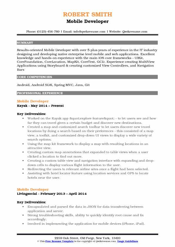 Mobile Developer Resume Sample