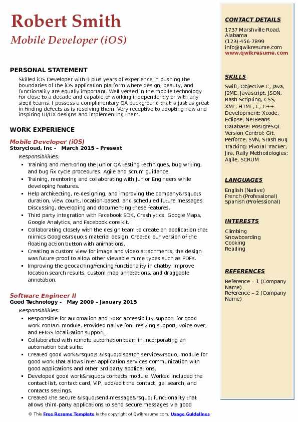 Mobile Developer (iOS) Resume Sample