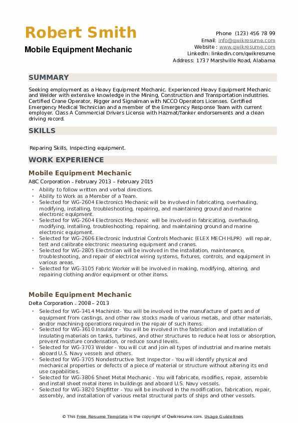 Mobile Equipment Mechanic Resume example