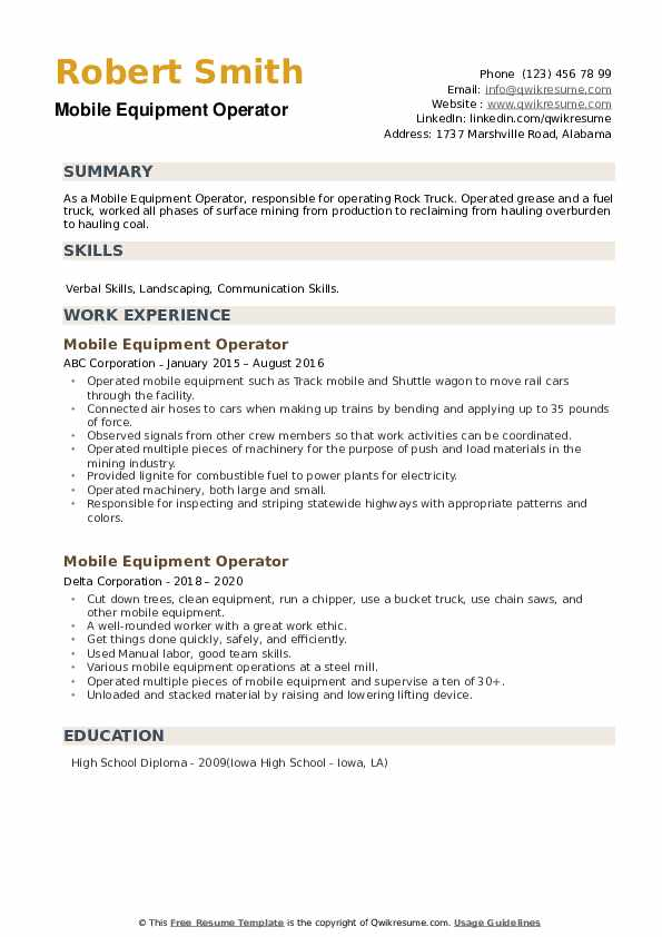 Mobile Equipment Operator Resume example