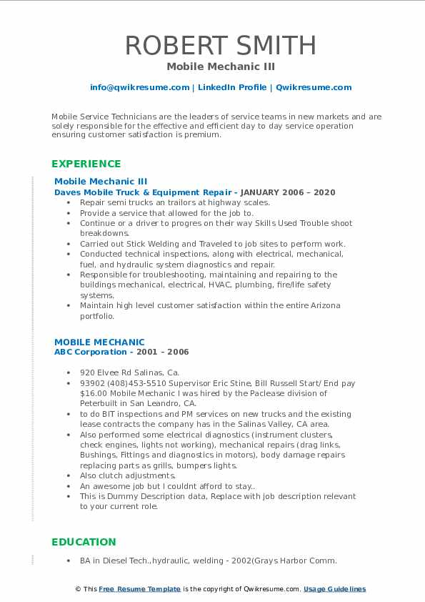 mobile mechanic resume samples  qwikresume