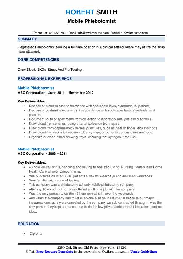Mobile Phlebotomist Resume example