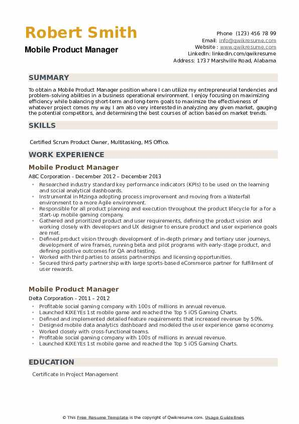 Mobile Product Manager Resume example