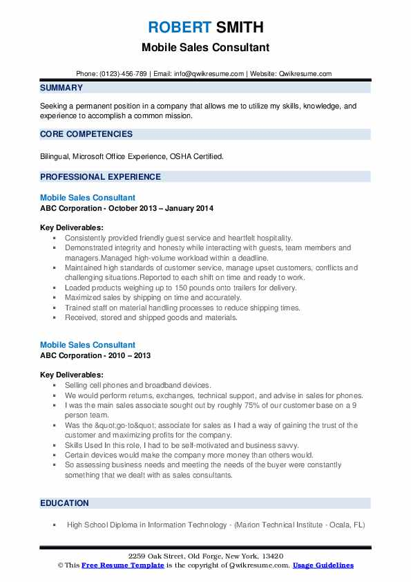 Mobile Sales Consultant Resume example
