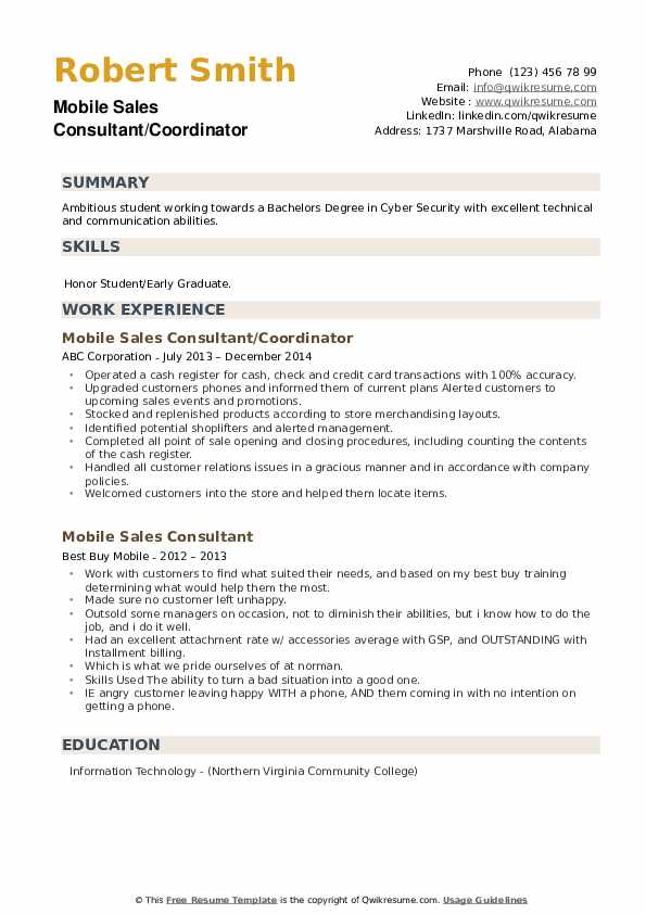 Advanced Repair Agent Resume example