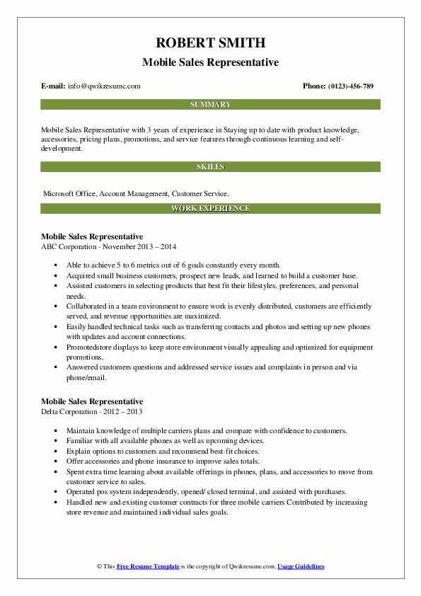 mobile sales representative resume samples  qwikresume