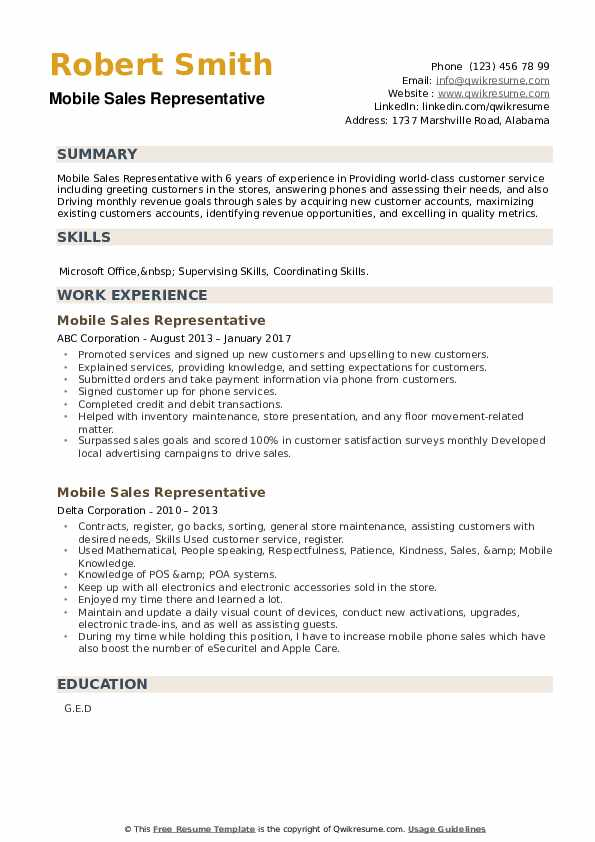 Mobile Sales Representative Resume example