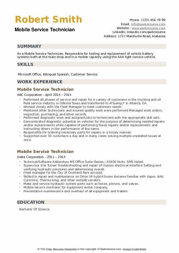 Mobile Service Technician Resume example