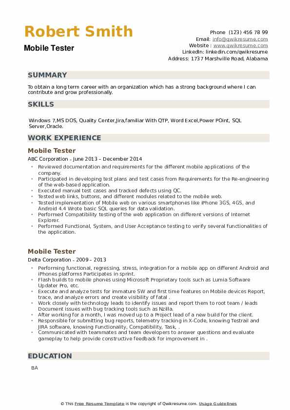 Mobile Tester Resume example