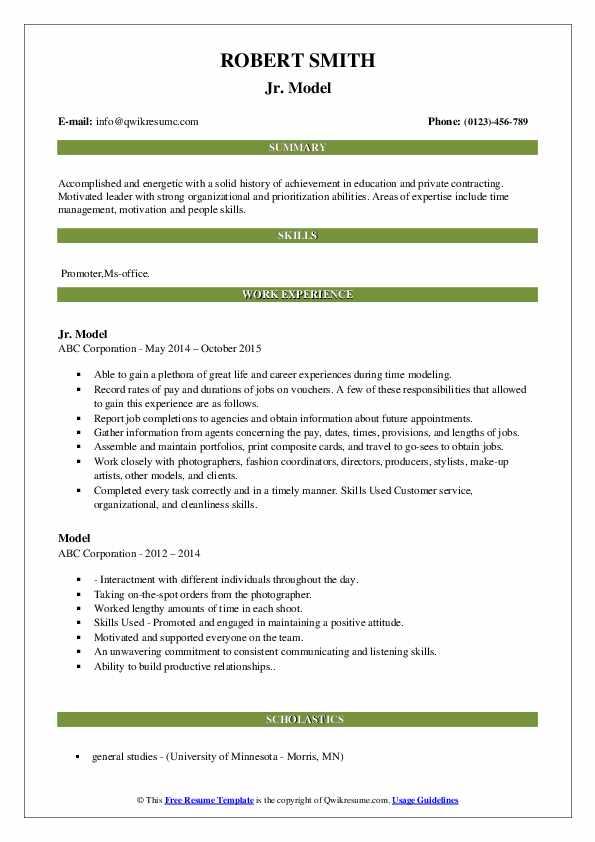 model resume samples  qwikresume