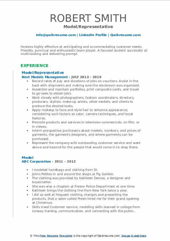 Model/Representative Resume Template