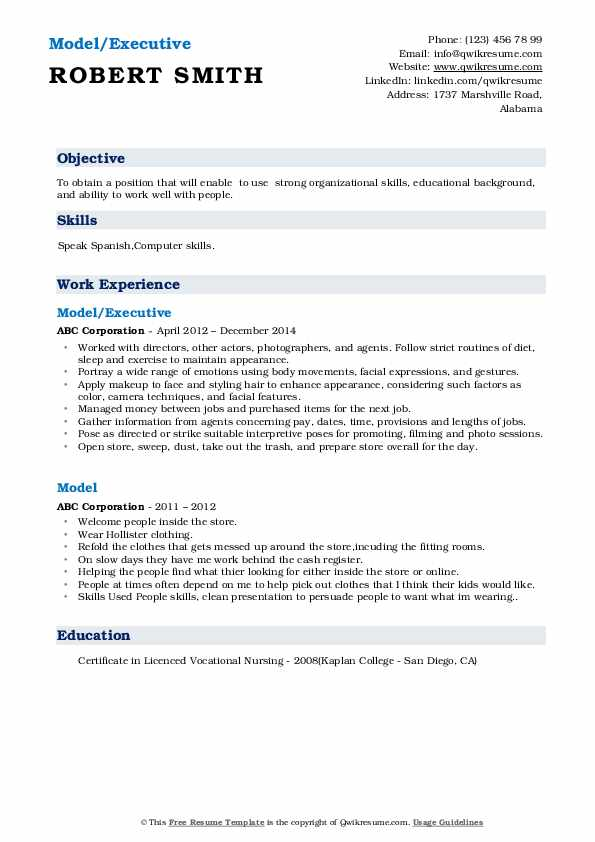Model/Executive Resume Model