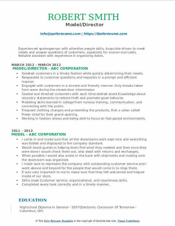Model/Director Resume Format