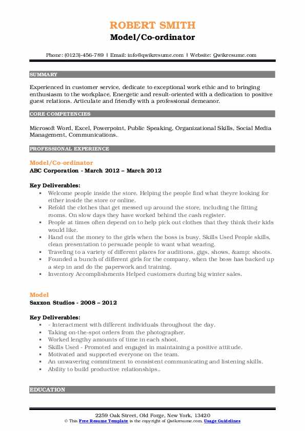 Model/Co-ordinator Resume Example
