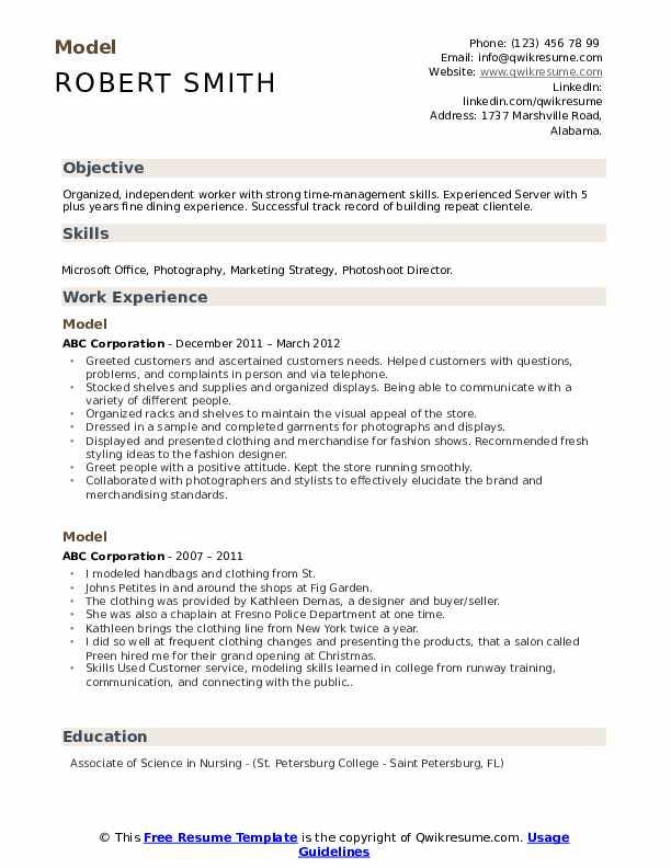 Model Resume example