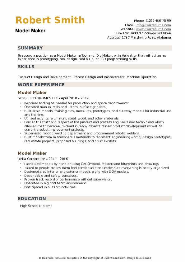 Model Maker Resume example