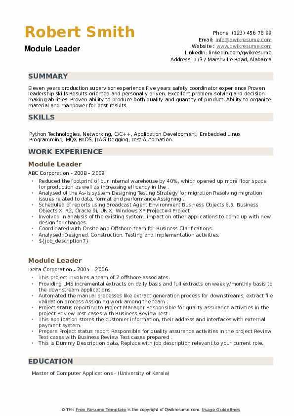Module Leader Resume example
