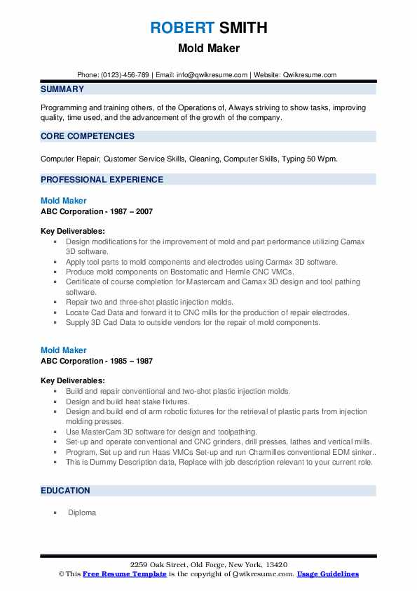 Mold Maker Resume example