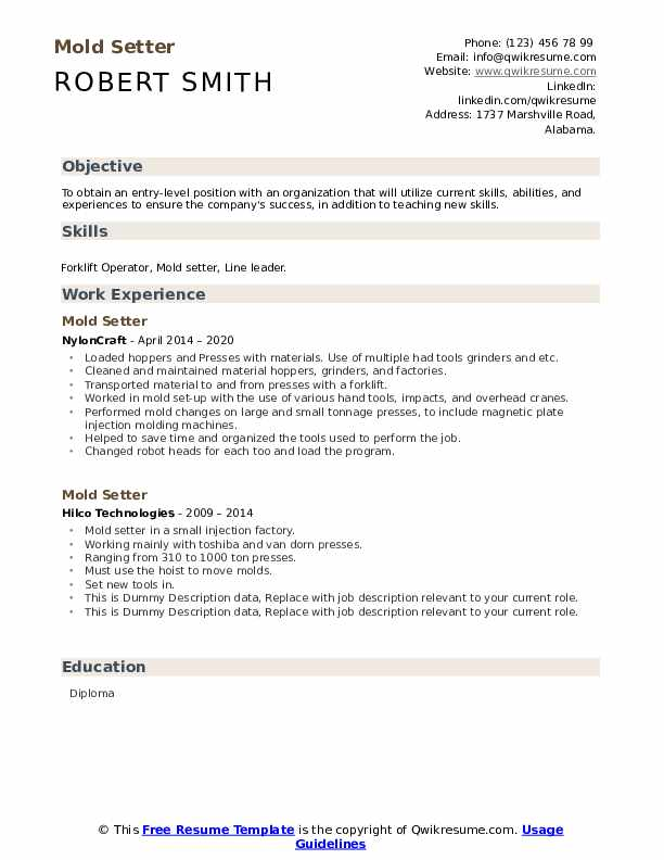 Mold Setter Resume example