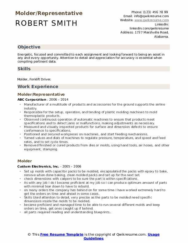 Molder/Representative Resume Sample