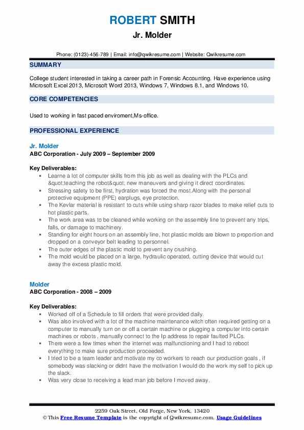 Jr. Molder Resume Format