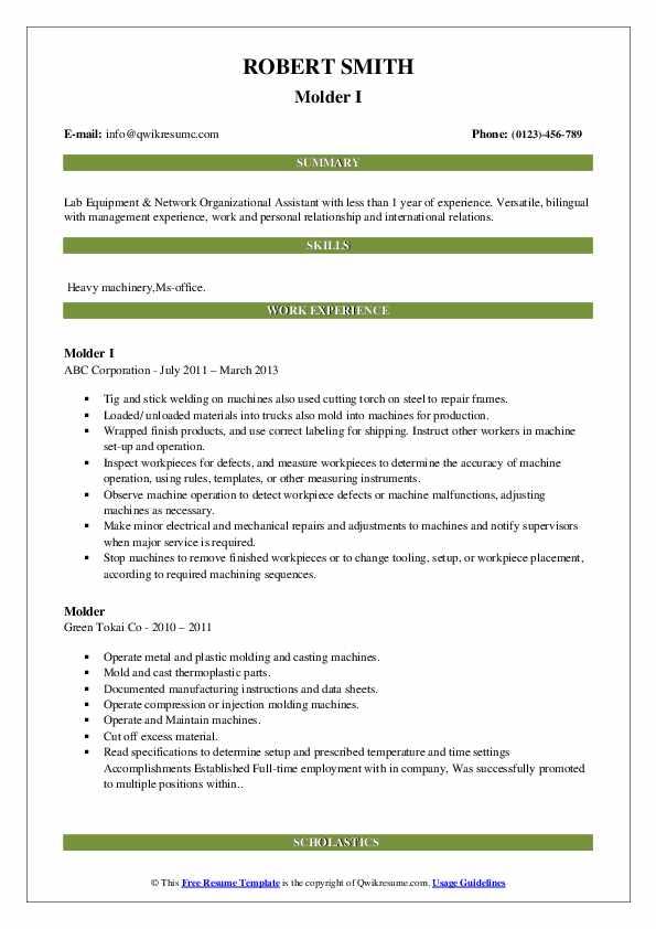 Molder I Resume Model