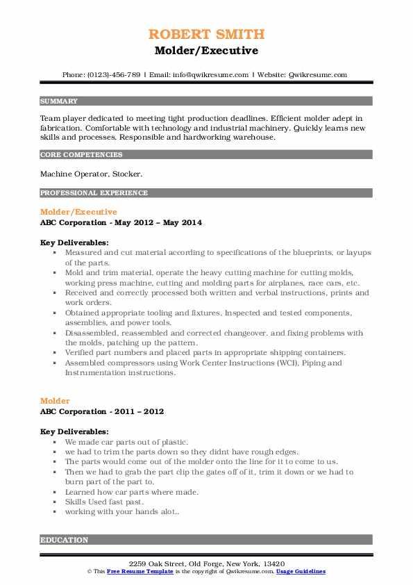 Molder/Executive Resume Format