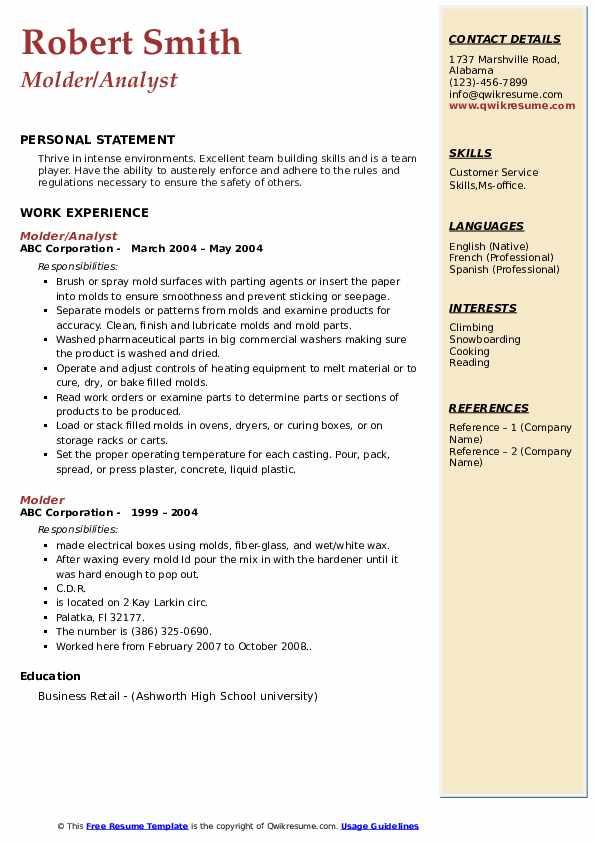 Molder/Analyst Resume Sample