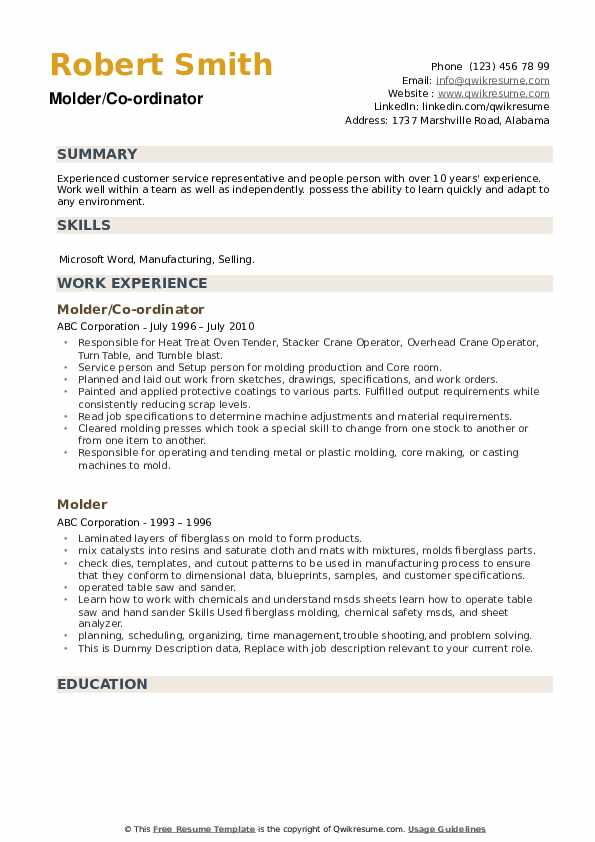 Molder/Co-ordinator Resume Sample