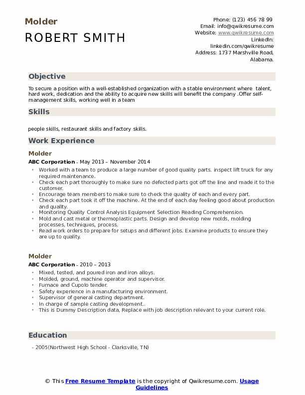 Molder Resume Format