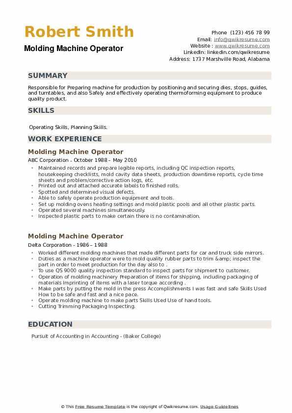 Molding Machine Operator Resume example