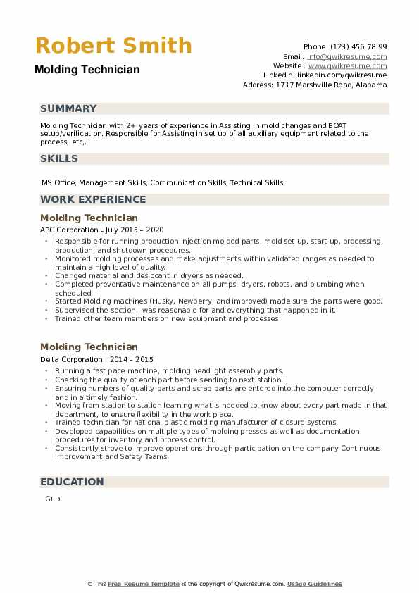 Molding Technician Resume example