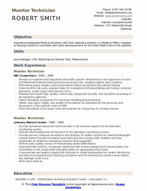 Monitor Technician Resume Model